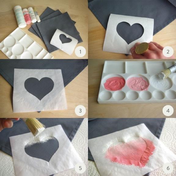 Servilletas personalizadas con corazones efecto ombre gu a de manualidades - Servilletas personalizadas ...