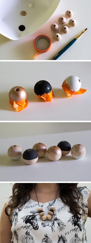 Collar con esferas de madera 2