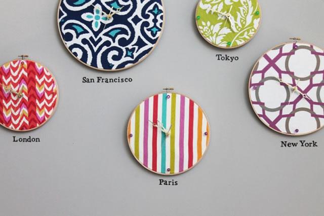 Relojes de pared con bastidores de bordado gu a de - Relojes para decorar paredes ...