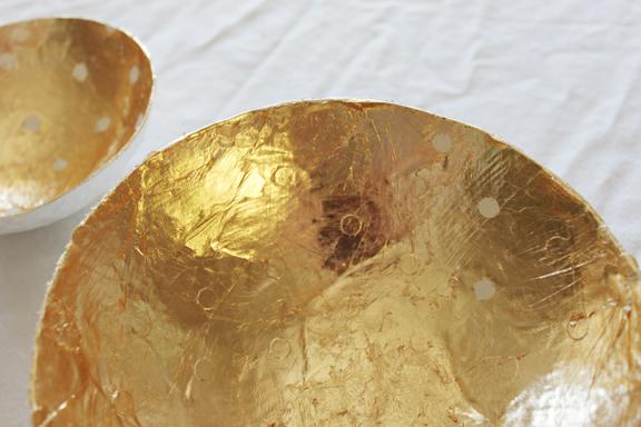Bol de papel maché y pan de oro 4