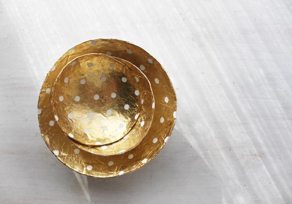 Bol de papel maché y pan de oro 5