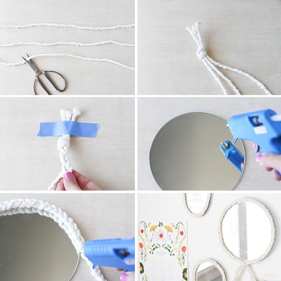 Espejos decorados con cuerdas gu a de manualidades for Espejos ovalados decorados