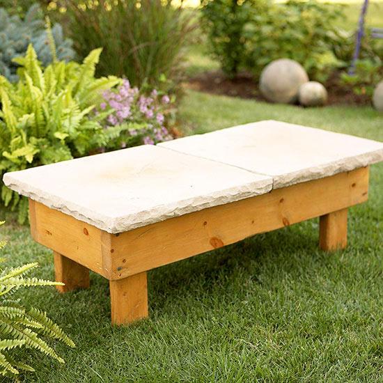 Banco de piedra diy para el jard n gu a de manualidades for Banco madera jardin