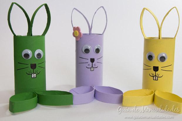 Simpticos conejos con tubos de cartn Gua de MANUALIDADES