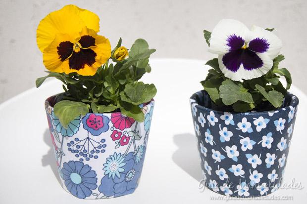 Jardineras decoradas con tela 16