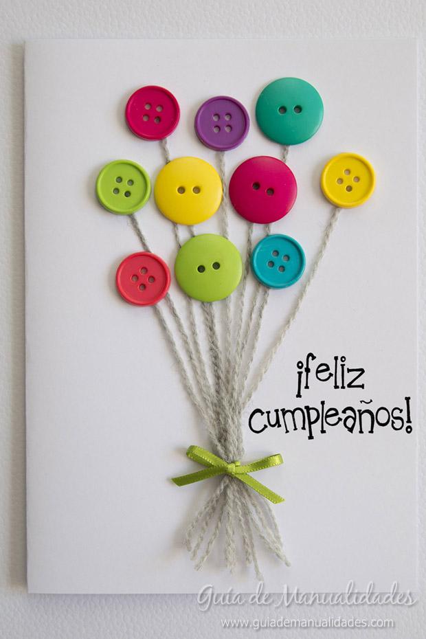 Colorida tarjeta con botones gu a de manualidades - Manualidades de botones ...