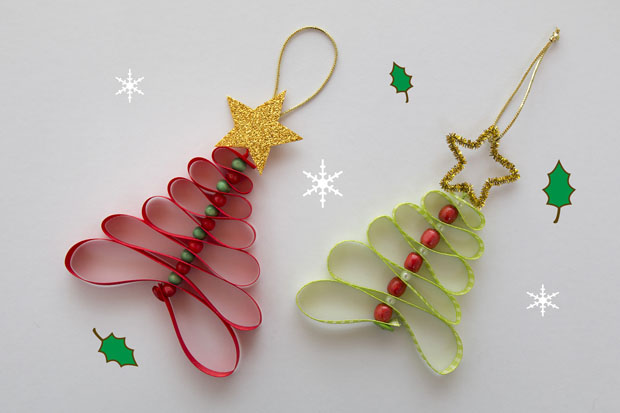 Adornos navide os con cintas gu a de manualidades - Ideas para decorar estrellas de navidad ...