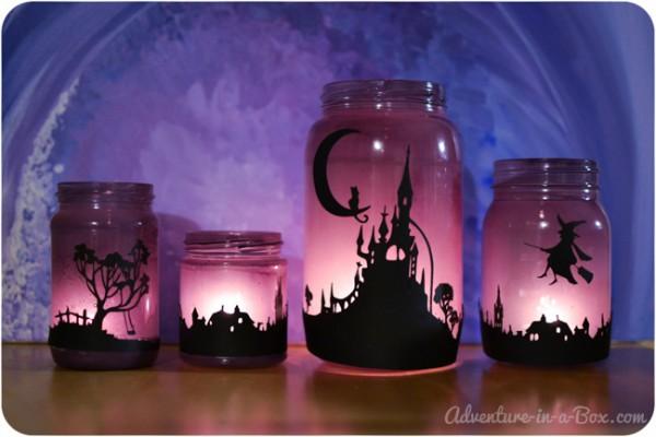 Linternas con frascos halloween 1
