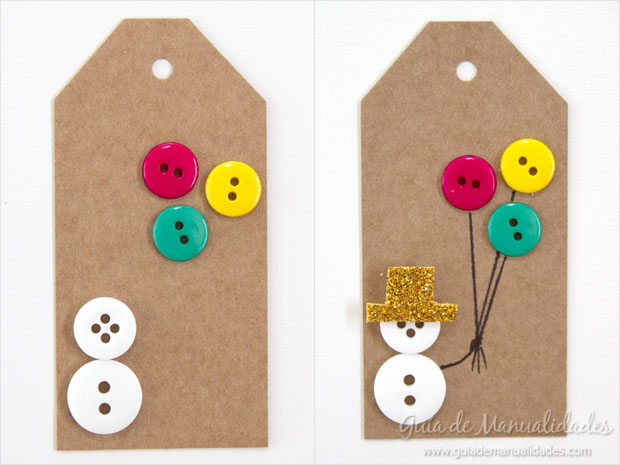 5 ideas de etiquetas navide as con botones gu a de - Decorar postales de navidad ...