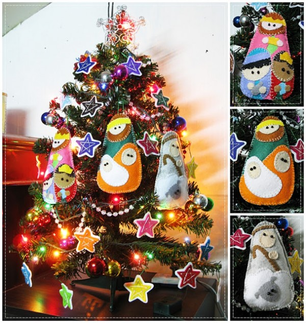 figuras para el arbol de navidad de fieltro imagui