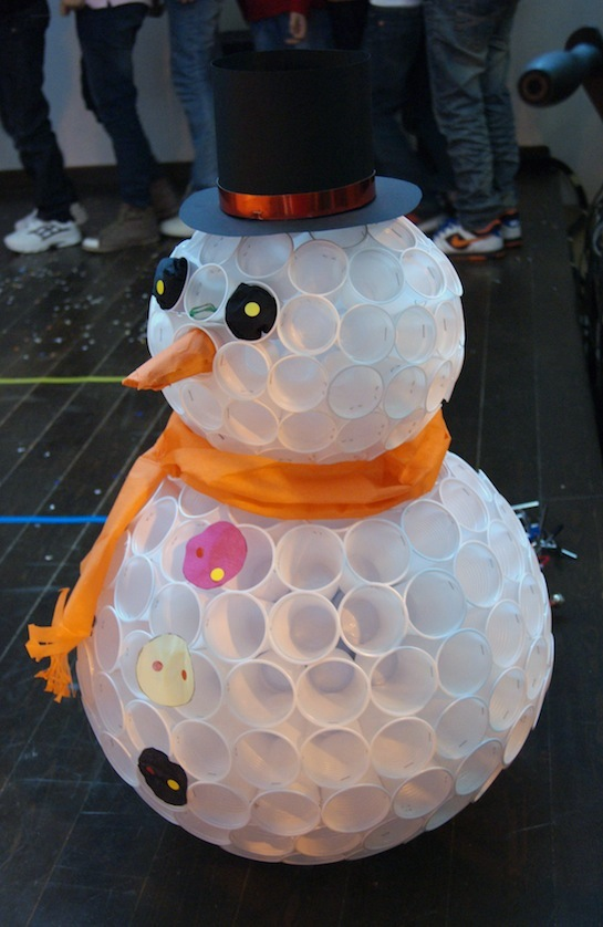 Snowman Made Out of Plastic Cups