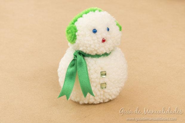 Mu eco de nieve con lana gu a de manualidades - Nieve para arbol de navidad ...