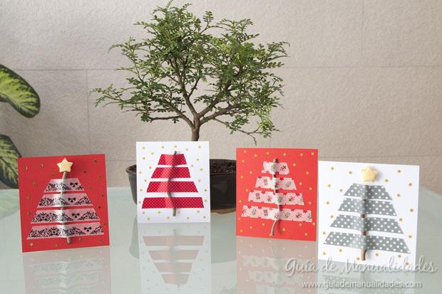 Tarjetas De Navidad Con Ramitas Secas Y Cintas De Diseno Guia De - Tarjetas-navideas-manualidades