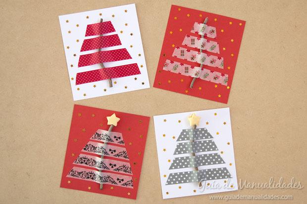 Tarjetas de navidad con ramitas secas y cintas de dise o - Tarjetas de navidad artesanales ...