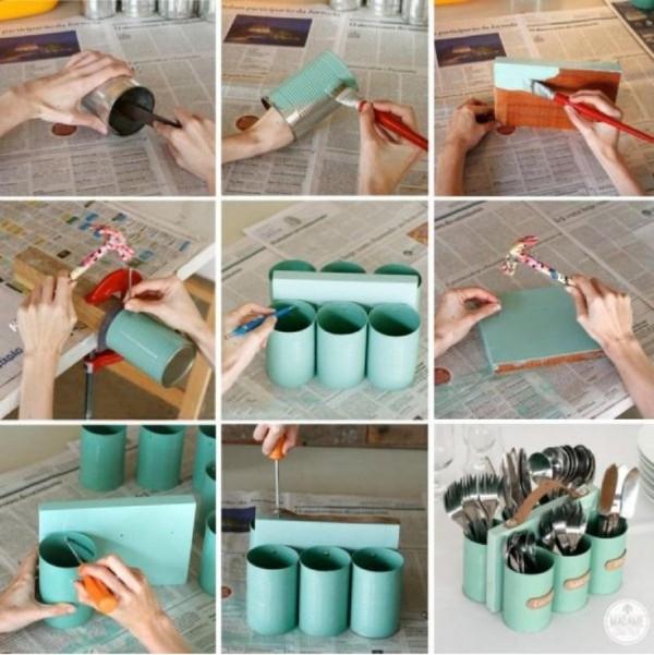 Portacubiertos con latas 2