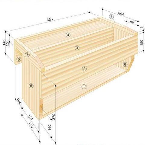 Macetero de madera colgante con estante gu a de manualidades - Jardineras a medida ...