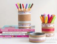 imagen Latas de conservas decoradas con corcho y washi tapes