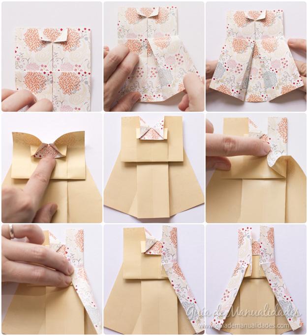 vestidos de origami paso a paso - guía de manualidades