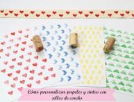 imagen Cómo personalizar papeles y cintas con sellos de corchos