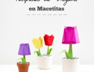 imagen Tulipanes de origami en macetitas
