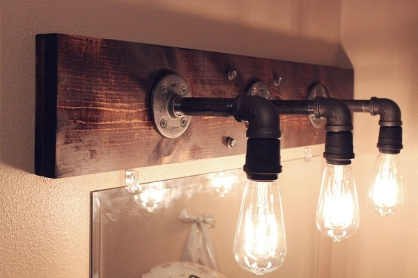 wood bathroom light fixtures aplique diy de estilo industrial para el ba 241 o gu 237 a de 21675