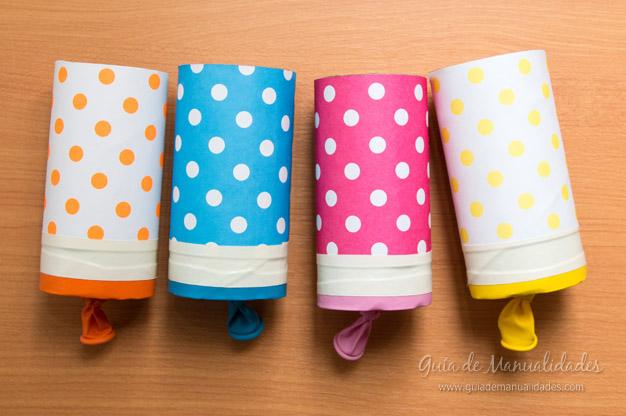 Lanza papel casero para fiestas gu a de manualidades - Manualidades rollos de papel higienico ...