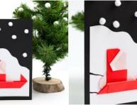 imagen Tarjeta navideña de Santa y su trineo de origami