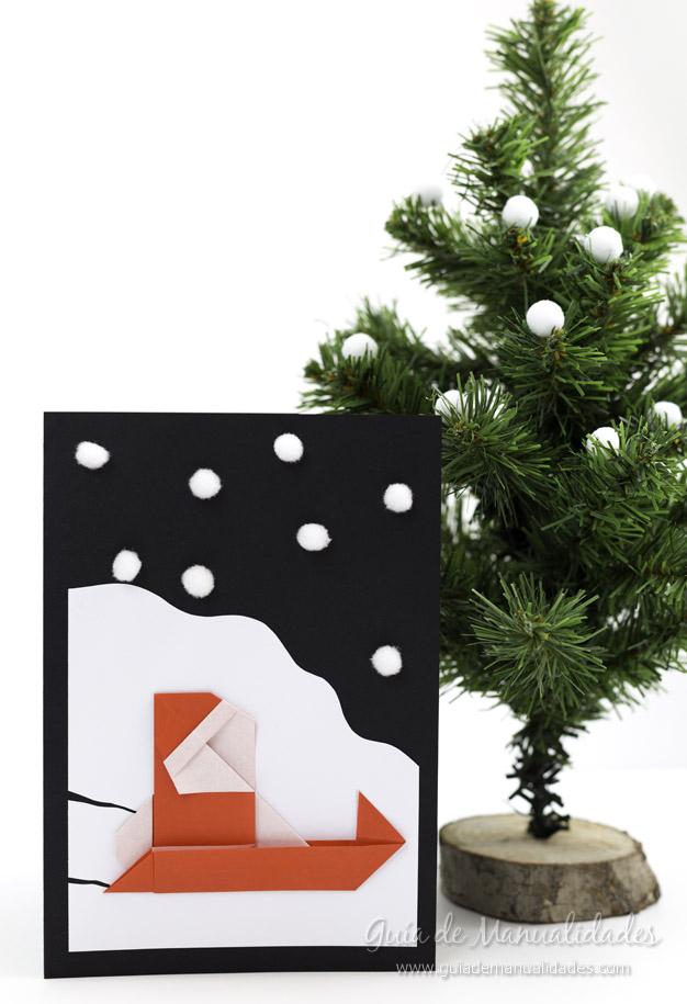Tarjeta Santa origami 1
