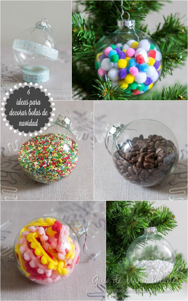 6 ideas para decorar bolas de navidad gu a de manualidades - Bolas navidad transparentes ...
