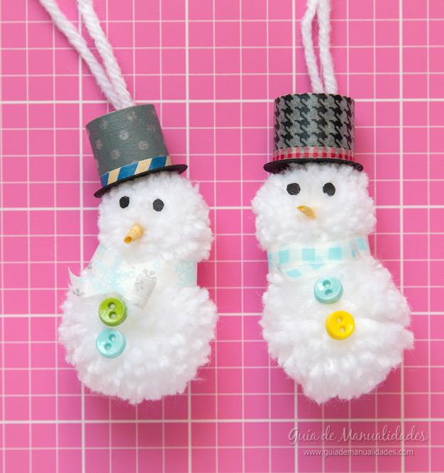 Muñeco de nieve pompones 14