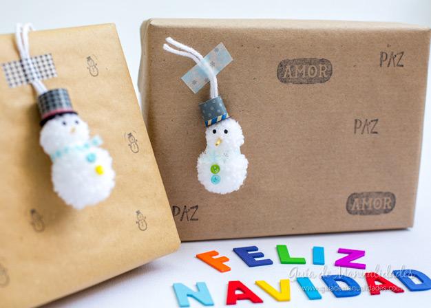 Muñeco de nieve pompones 15