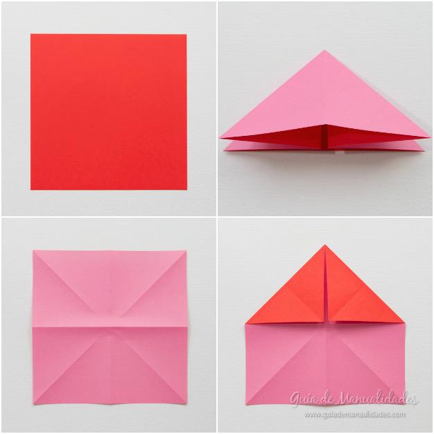 Corazones de origami con alas - Guía de MANUALIDADES