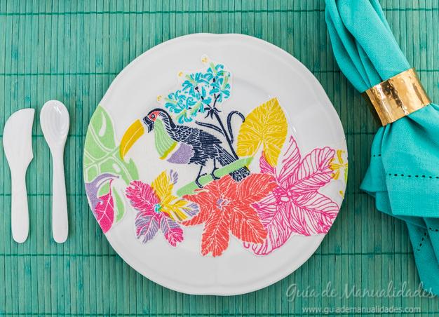 Decoupage con tela para decorar platos de cer mica gu a for Platos de ceramica