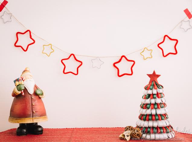 Guirnalda de estrellas para navidad gu a de manualidades - Guirnaldas navidad manualidades ...