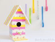 imagen Casita para aves decorada con washi tapes