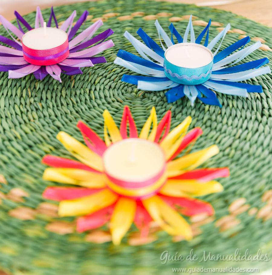 Flores de cintas para decorar con velas tu mesa gu a de - Cintas para decorar ...