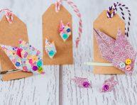 imagen Conjunto aretes y broche para el cabello hojitas de origami