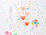imagen 3 tarjetas románticas sencillas con muestras de pintura