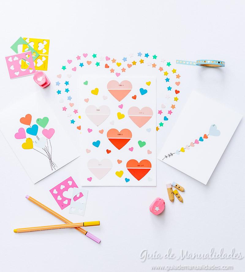 3 Tarjetas Romanticas Sencillas Con Muestras De Pintura Guia De