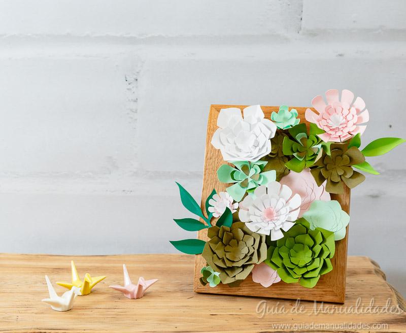 Mini jard n vertical con suculentas de papel gu a de for Bricolaje para jardin