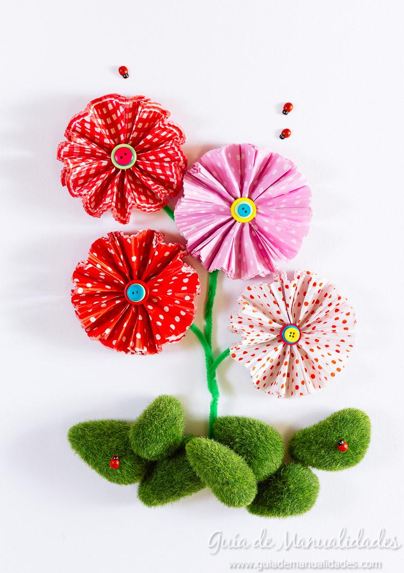 flores con moldes para cupcakes 1
