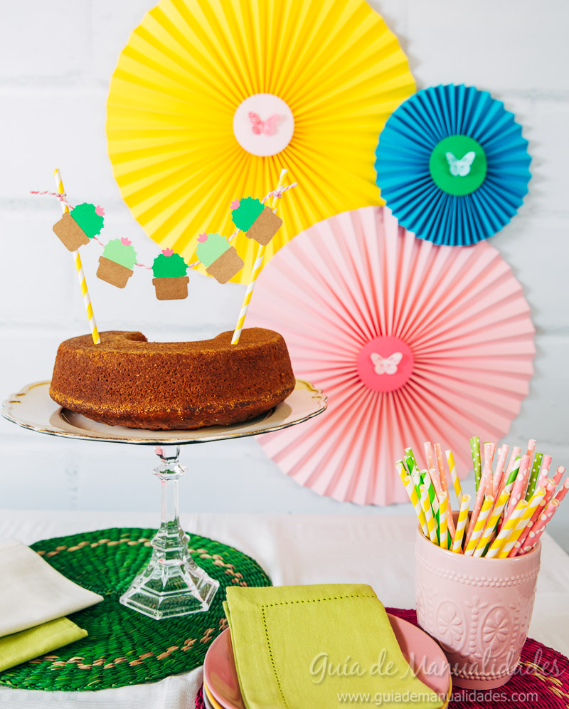 DIY cake topper con mini cactus - Guía de MANUALIDADES