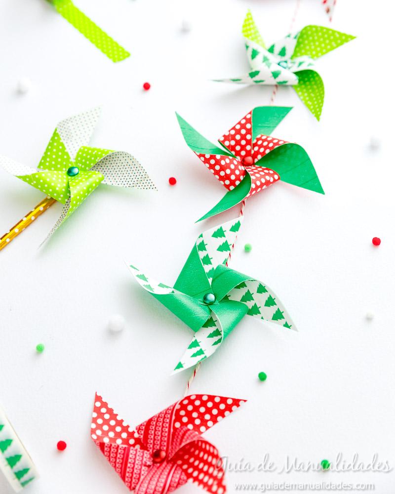 Molinillos navideños con cintas washi 1