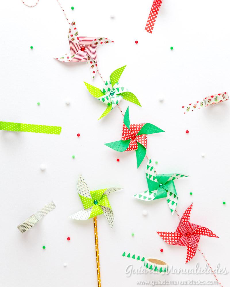 Molinillos navideños con cintas washi 10