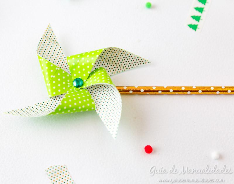 Molinillos navideños con cintas washi 12