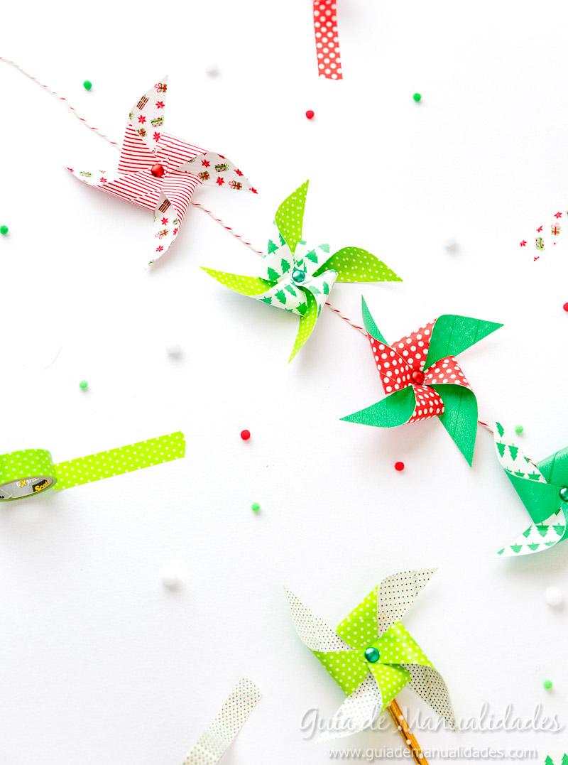 Molinillos navideños con cintas washi 13