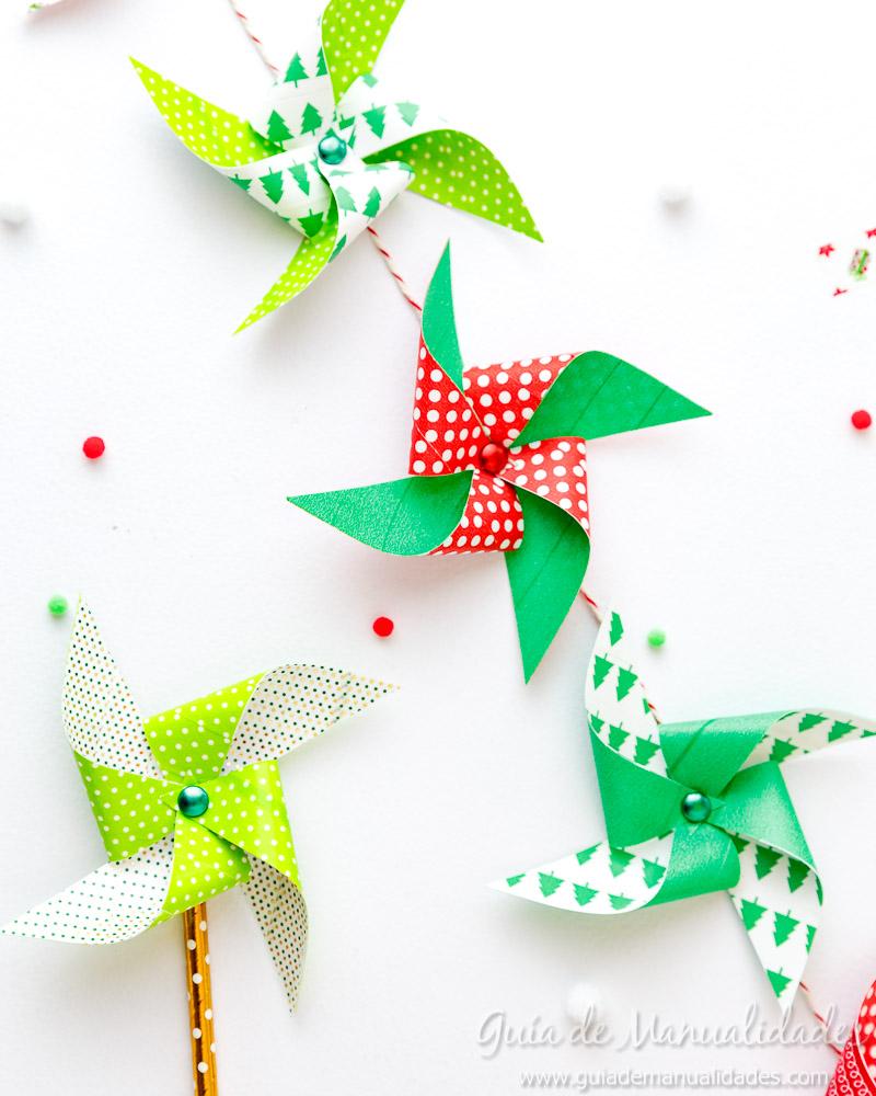Molinillos navideños con cintas washi 14