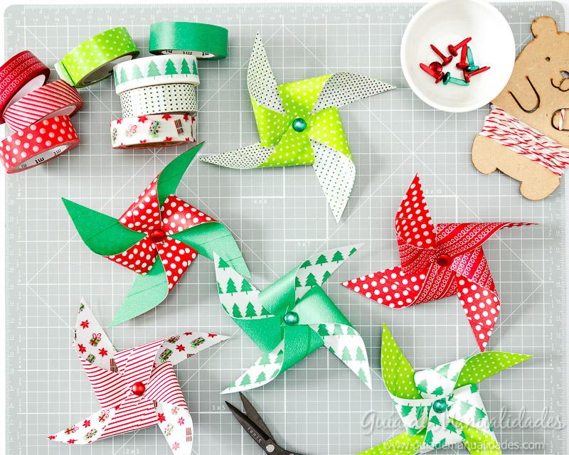 Molinillos navideños con cintas washi 8