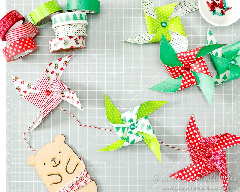 Molinillos navideños con cintas washi 9