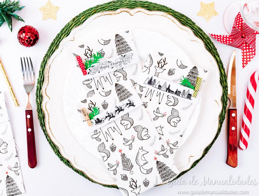 Servilleteros navideños con sellos 1